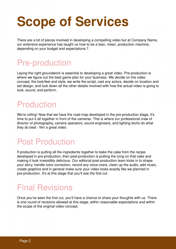 printable proposals  video production template video production business proposal template doc