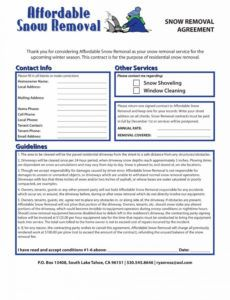 printable snow removal contract templates ~ addictionary snow removal proposal template example
