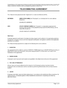 printable telecommuting agreement template  by businessinabox™ telecommuting proposal template excel