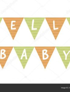 printable vector baby shower banner template scandinavian design elements for  invitation card poster cute triangle badge on rope with text hello baby baby shower banner template doc