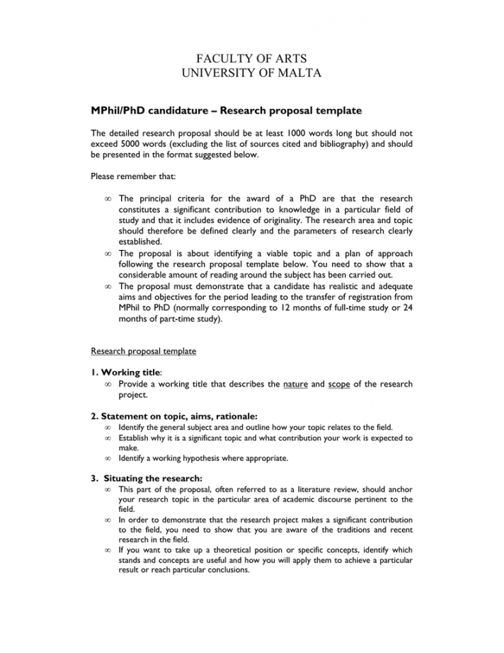 sample faculty of arts university of malta mphilphd candidature phd research proposal template word