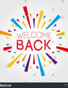 sample welcome back poster banner greeting template stock vector welcome home banner template word