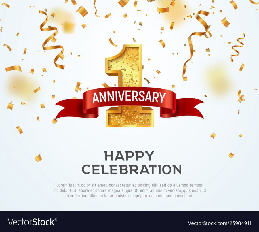 1 year anniversary banner template first vector image happy anniversary banner template word
