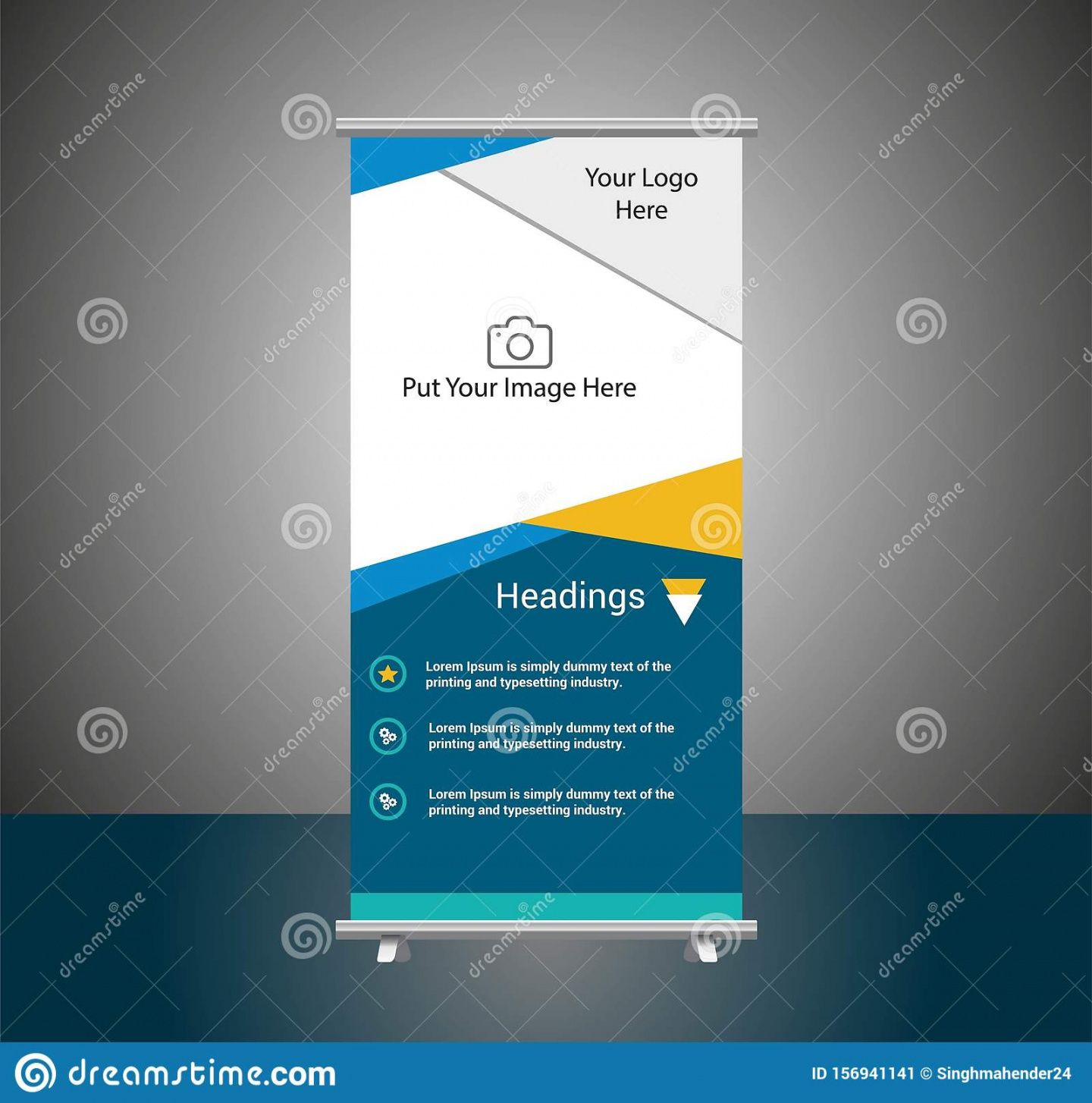 blueyellow roll up banner template vector illustration trade show banner template pdf