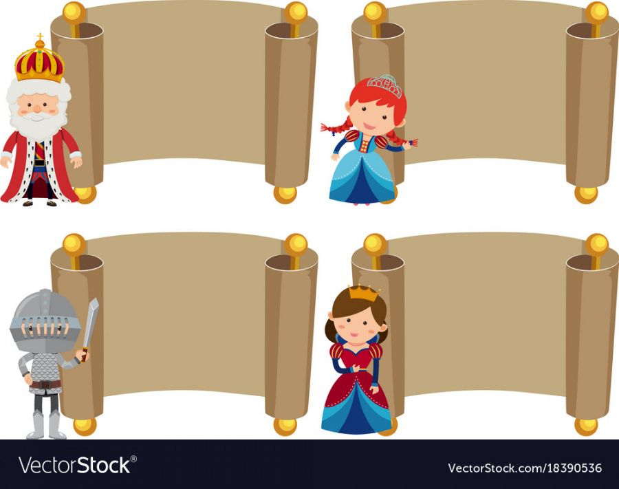 editable banner templates with knight and princess vector image princess banner template