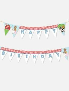 editable cartoon farm kids party banner printable party banner template pdf