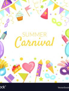 editable summer carnival banner template bright royalty free vector carnival banner template word