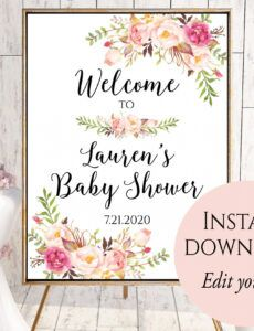 free bridal shower welcome sign template ~ addictionary bridal shower banner template excel