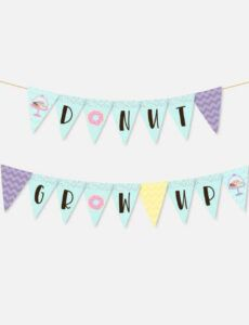 free donut kids party banner printable party banner template doc