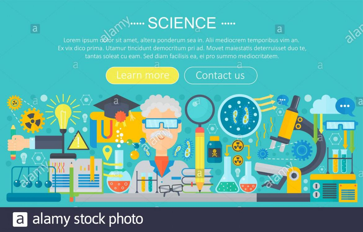 printable flat design concept of science horizontal banner with science fair banner template doc