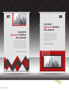 red roll up banner template vector illustration polygon trade show banner template