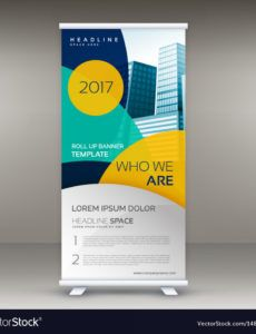 roll up banner design template with modern shapes vector image pop up banner design template doc
