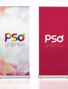 rollup trade show banner flag psd mockup  psd mockups trade show banner template doc