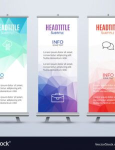 sample banner stand design template with abstract vector image standing banner design template