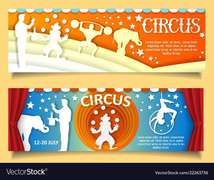 sample paper cut circus banner template set royalty free vector circus banner template example