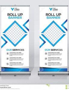sample roll up banner design template vertical abstract pull up banner design template example