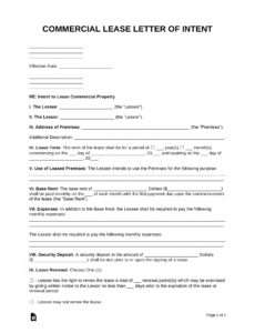 editable free letter of intent to lease commercial property  word commercial lease proposal template