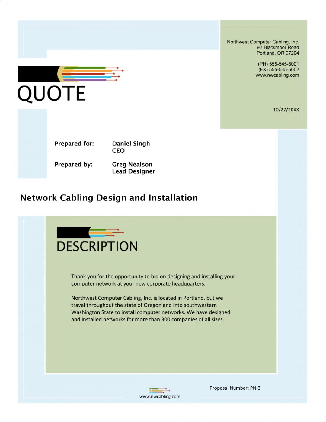 free network cabling sample proposal  5 steps networking proposal template word