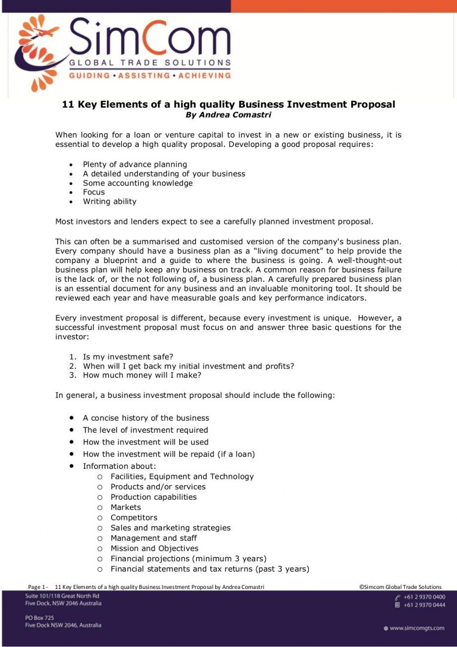 key elements of high quality business investment real real estate development proposal template example