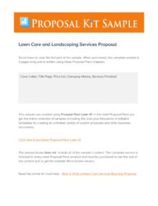 landscape proposal template  fill online printable lawn care bid proposal template pdf