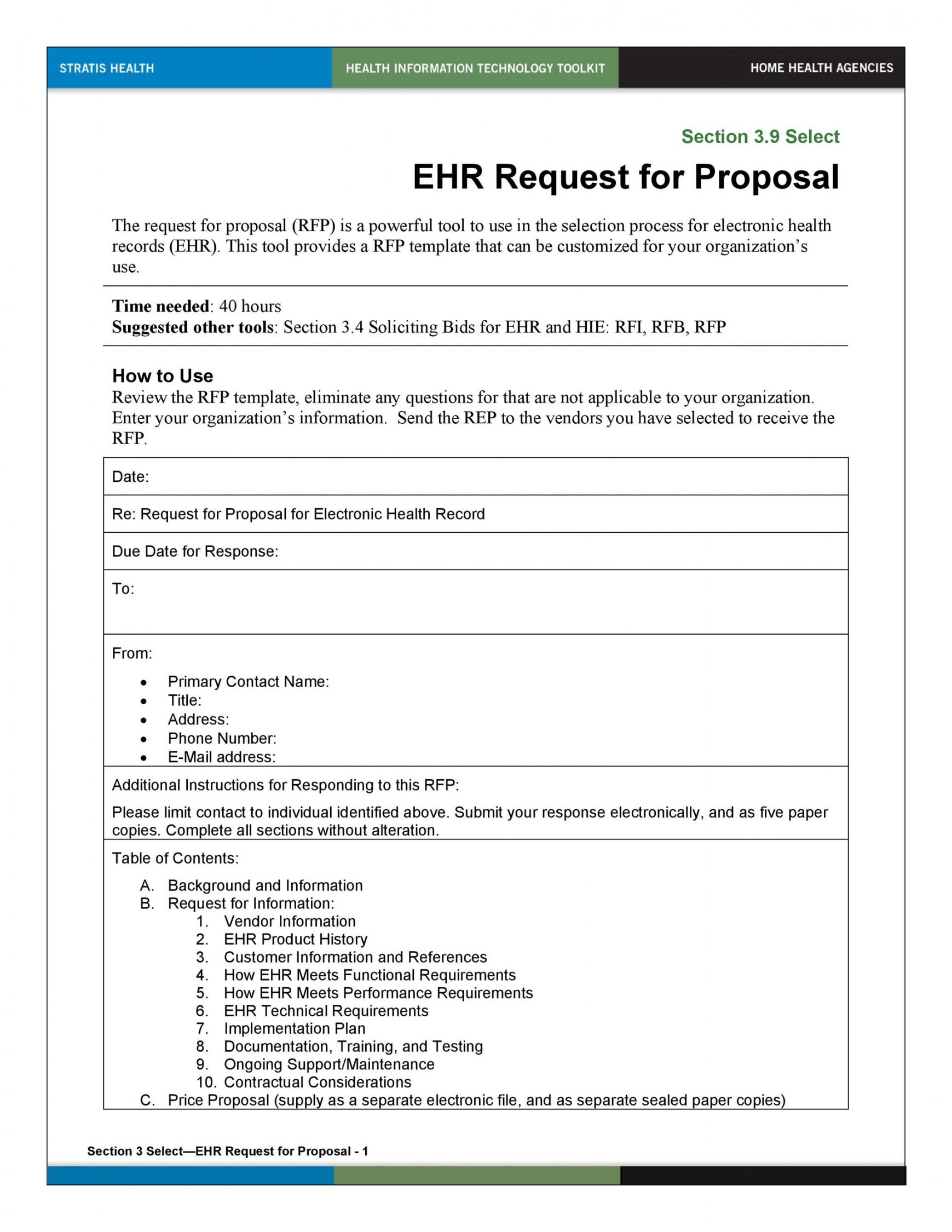 printable 40 best request for proposal templates & examples rpf health care proposal template word