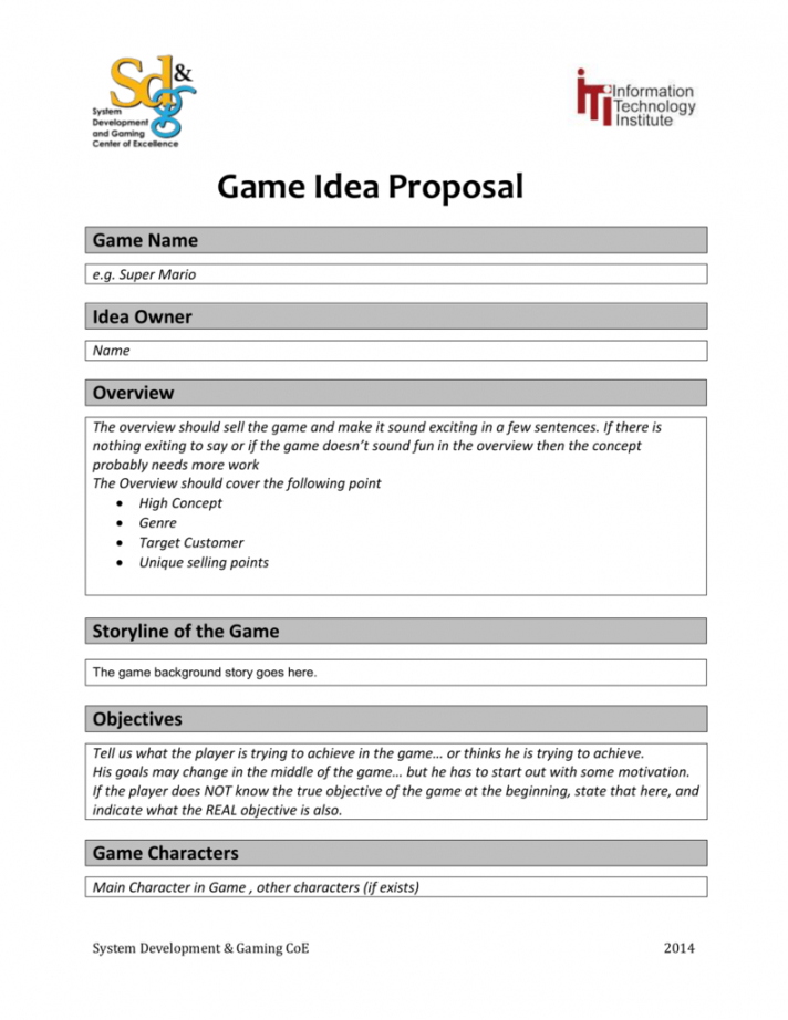printable game idea proposal game name video game proposal template pdf