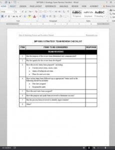 sample strategy team review checklist template team management plan template excel