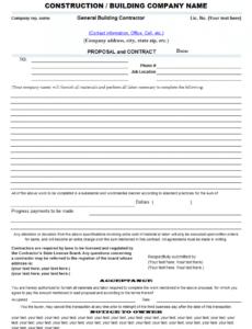 editable contractor bid template  free printable documents subcontractor bid proposal template