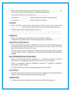 editable free subcontrator agreement template for download subcontractor bid proposal template pdf