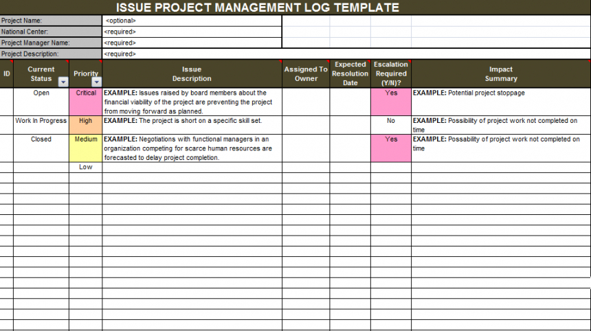 editable project issue tracker template in excel  excelonist project management log template pdf