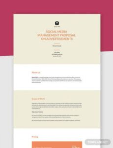 editable social media management proposal template  word doc social media management contract template word