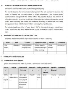 free communication plan template project management  printable schedule management plan template pdf