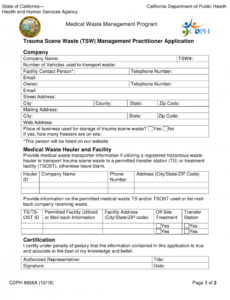 free form cdph8668a download fillable pdf or fill online trauma medical waste management plan template example