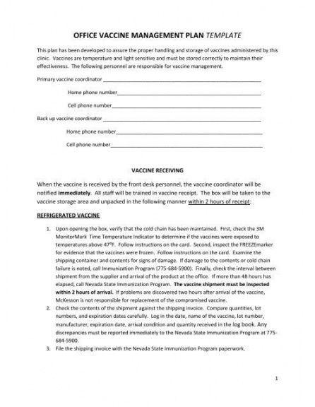 free printable vaccine management plan template  quality vaccine management plan template