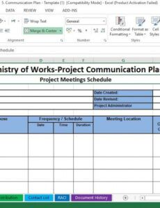 free project communication plan excel template  engineering schedule management plan template
