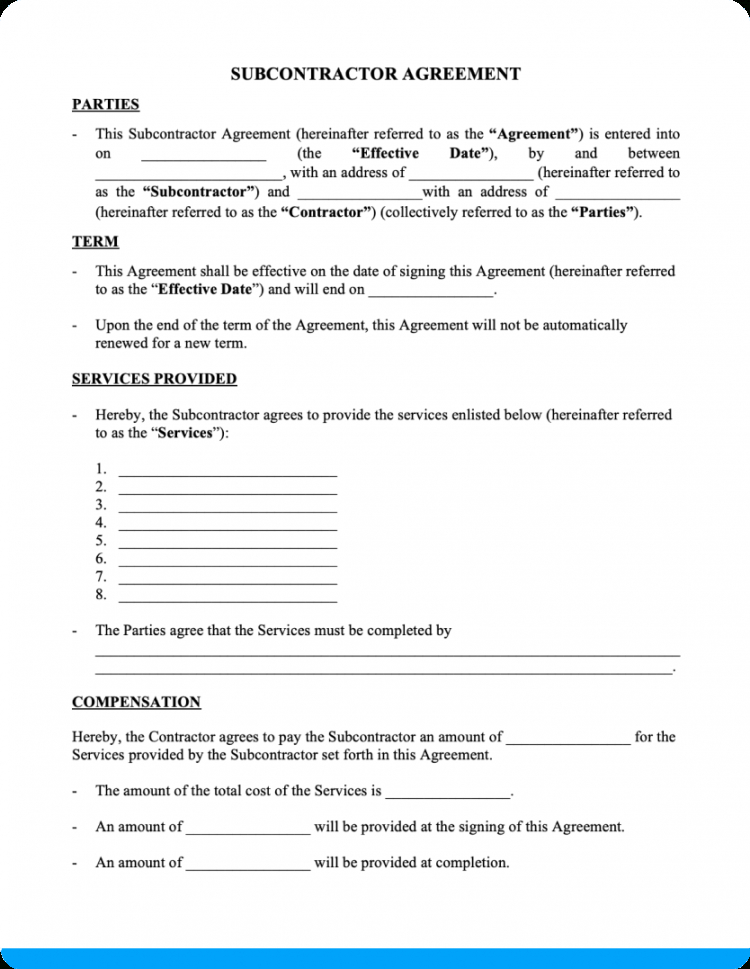 free subcontractor agreement free downloadable template subcontractor bid proposal template