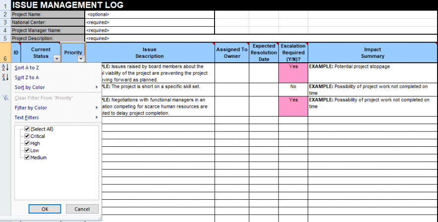 issue tracking template excel  free download project management log template example