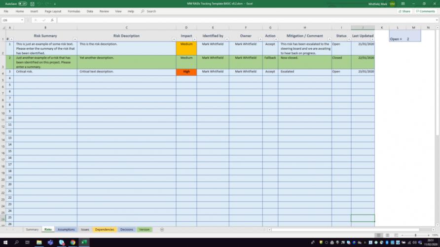 printable basic project management raid log tracker project management log template word