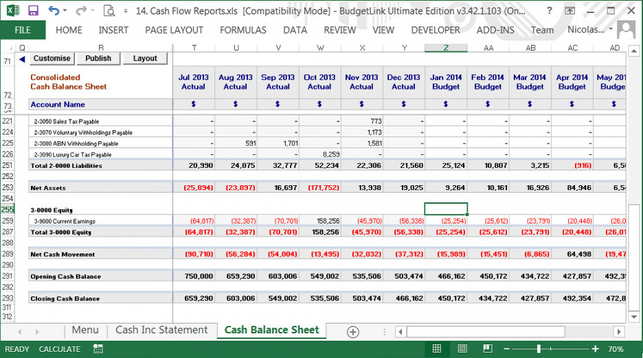 printable budgetlink  accounting addons cash management report template word