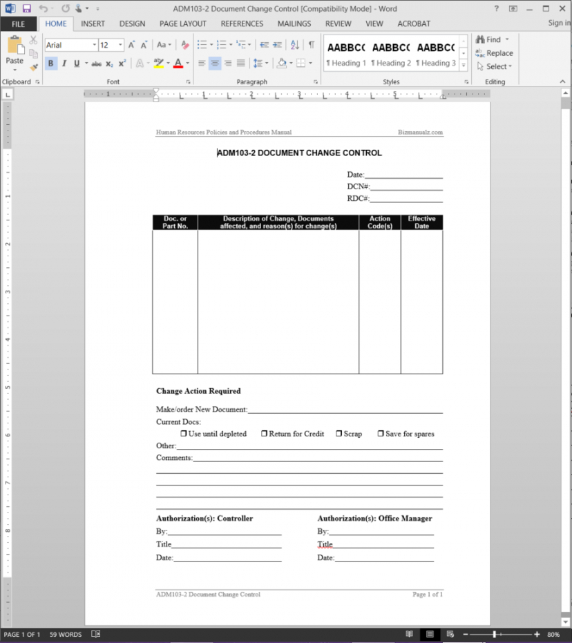 printable document control log template change management documentation template word