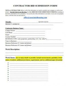 printable free 9 contractor bid samples in ms word  pdf subcontractor bid proposal template doc