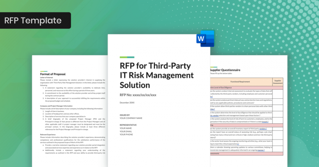 printable rfp template for third party it risk management  features vaccine management plan template word