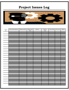 editable project issues log templates  6 free printable word project management issues log template example