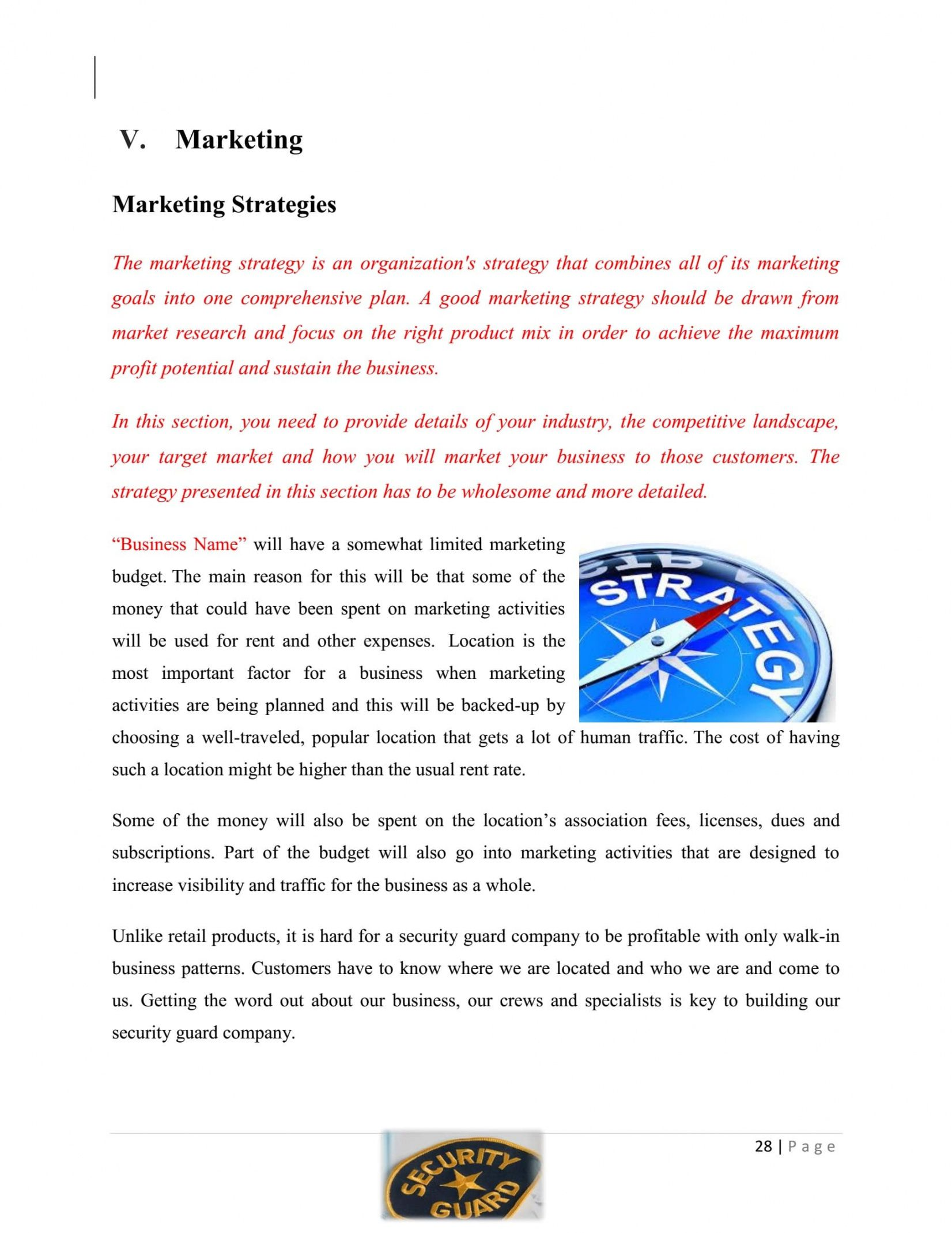 editable security guard company business plan template sample pages security company proposal template