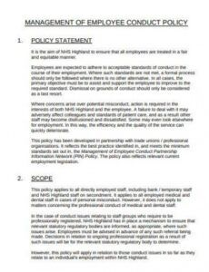 Employee Rules Of Conduct Template Doc