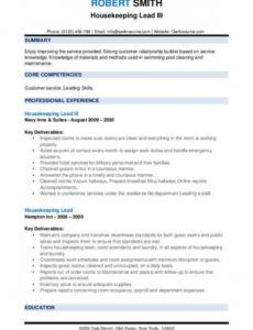 free housekeeping lead resume samples  qwikresume hotel crisis management plan template