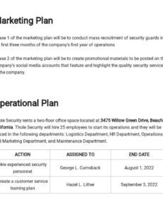 free security guard business plan template  word doc security company proposal template