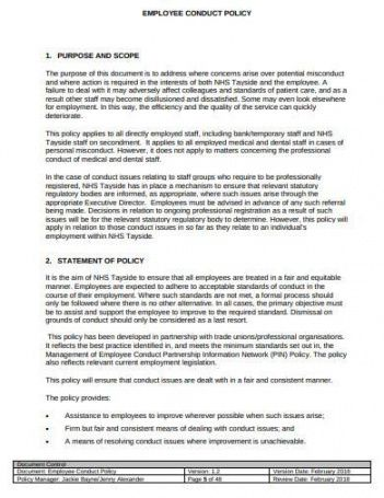 Printable Employee Rules Of Conduct Template Doc Sample