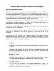 Professional Employee Rules Of Conduct Template Doc Sample