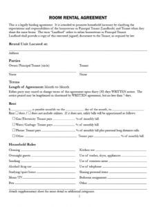 Professional House Rules For Roommates Template Excel Example